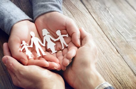 Family Care And Love - Hands With Family Symbol Silhouette